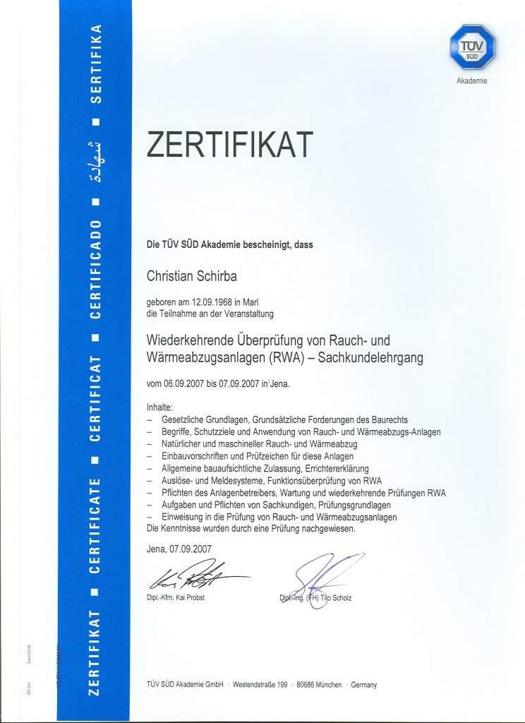 Zertifikat RWA Anlagen
